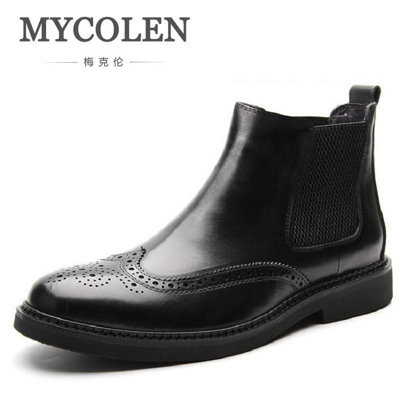 Los Botas Hombres marrón De Tobillo Alta Moda Resbalón Coturnos Negro Masculino Nieve Cuero Diseño Tallado En Militar Calidad Mycolen qftIX