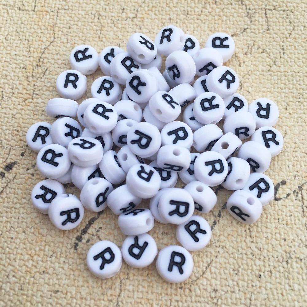②Negro sola letra r impresión acrílico alfabeto inicial Cuentas 4 ...