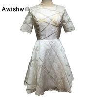 Nowy Prawdziwe Zdjęcia Mała Biała Sukienka Mini Sukienka Koktajlowa Krótki Rękaw Wycięciem-line Strona Togi Dostosowane Vestidos de Festa