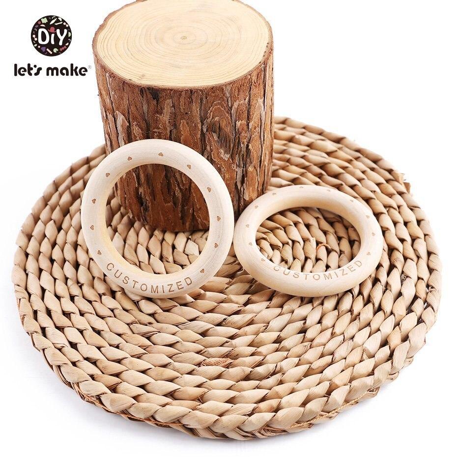 Let's Make Wooden Bracelet 100PCS 70mm Customized Organic Nursing Wooden Eco-Friendly Baby Teething Accessories Bracelet (Customized)
