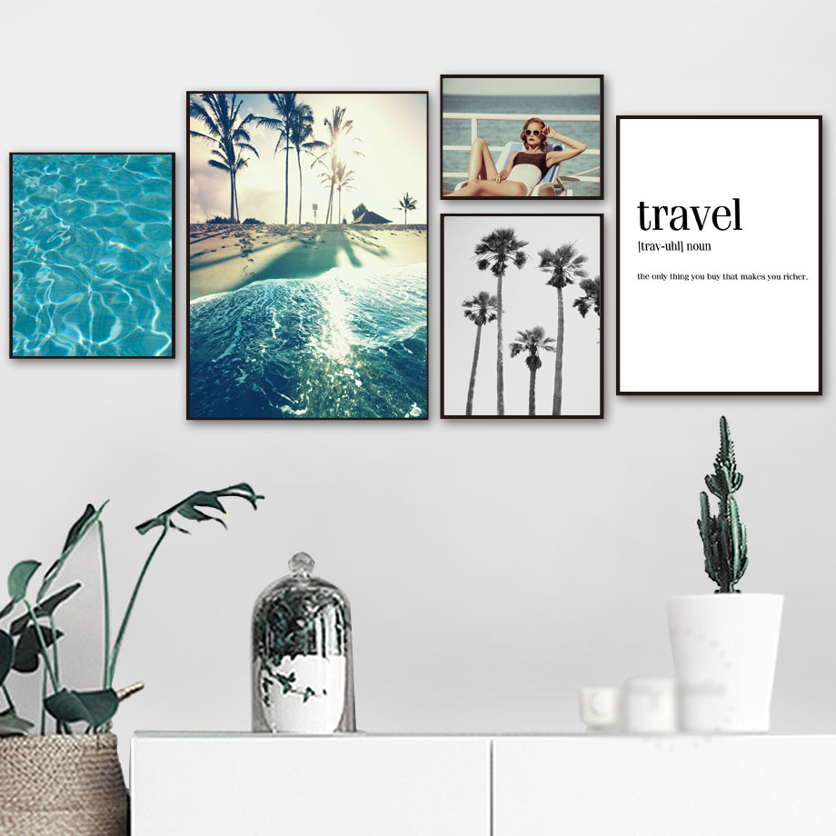 Sea Beach Sexy Girl Travel Quotes Wall Art Canvas Painting Nordic Posters And Prints Wall Pictures For Living Room Bedroom Decor