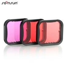 Zestaw filtrów SOONSUN 3 Pack czerwony Magenta filtr koloru soczewki do GoPro HERO 5 6 7 czarny Super garnitur obudowa Case akcesoria
