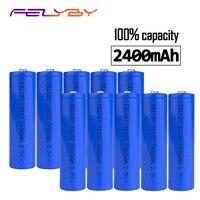 Бесплатная доставка! Лидер продаж! FELYBY высокое качество 3,7 в 2400 мАч оригинальный 2-10 шт. 18650 литий-ионная аккумуляторная батарея с USB зарядным ...