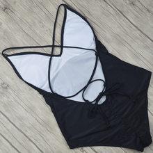 2019 Sexy One Piece Swimsuit Women Swimwear Female Solid Black Thong Backless Monokini Bathing Suit XL