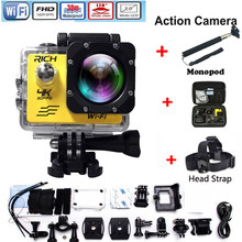 Action Camera wifi for pro hero 4 Sport Camera 1080P HD 30m Waterproof sports camrea Extra head strap+bag+Monopod(China)