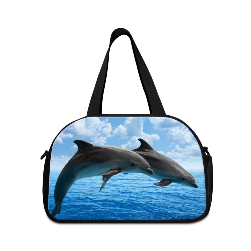 Girly small duffle bag dolphin printing gymy tote bag with shoe pocket womens workout duffle bags on sale best travel bag brands