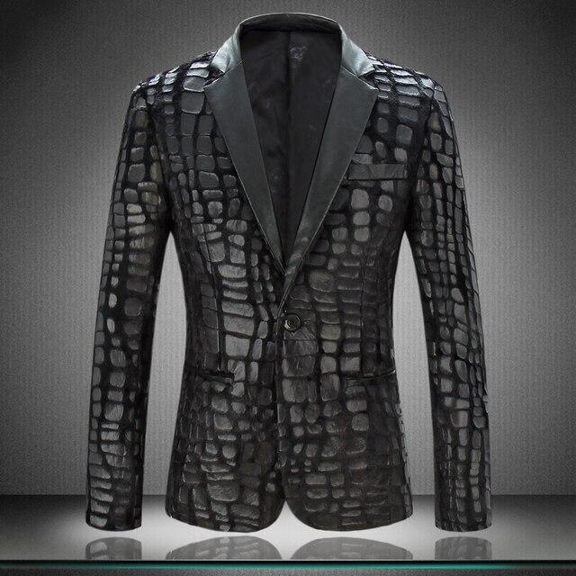 Новый бархат костюм мужской давления кожи пиджак тенденция личности маленький костюм моды большой размер костюм куртка мужчины