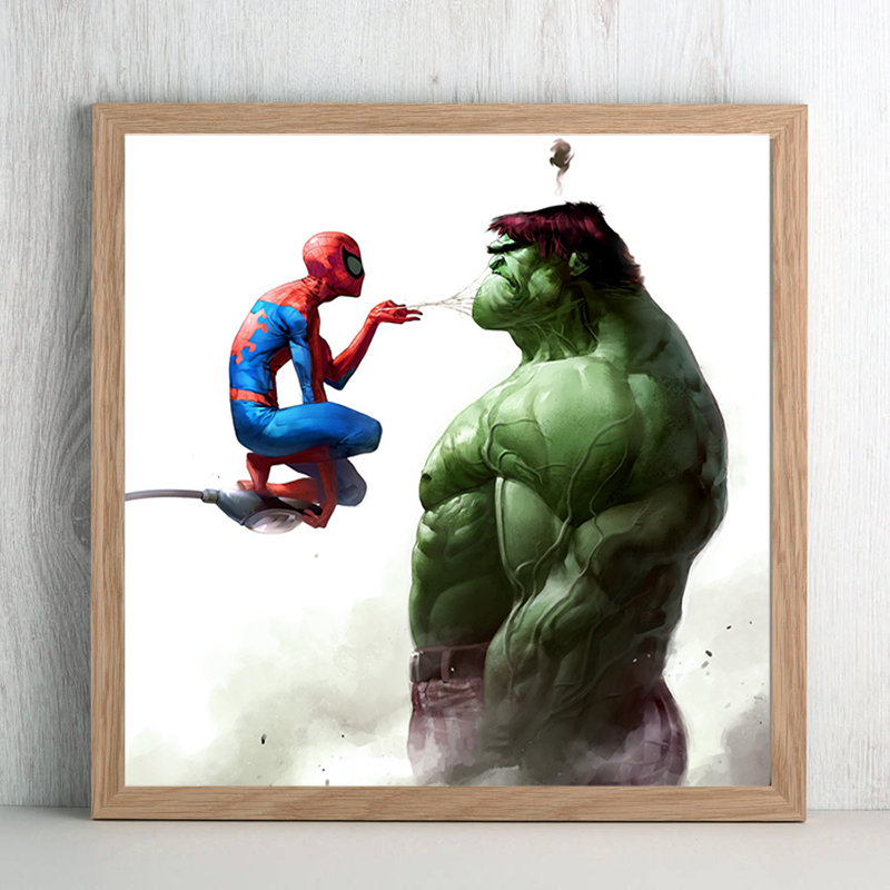 Spiderman And Hulk Canvas Painting Oil Print Poster Wall Art Picture for Living Room Bedroom Kids Home Decoration Comics image
