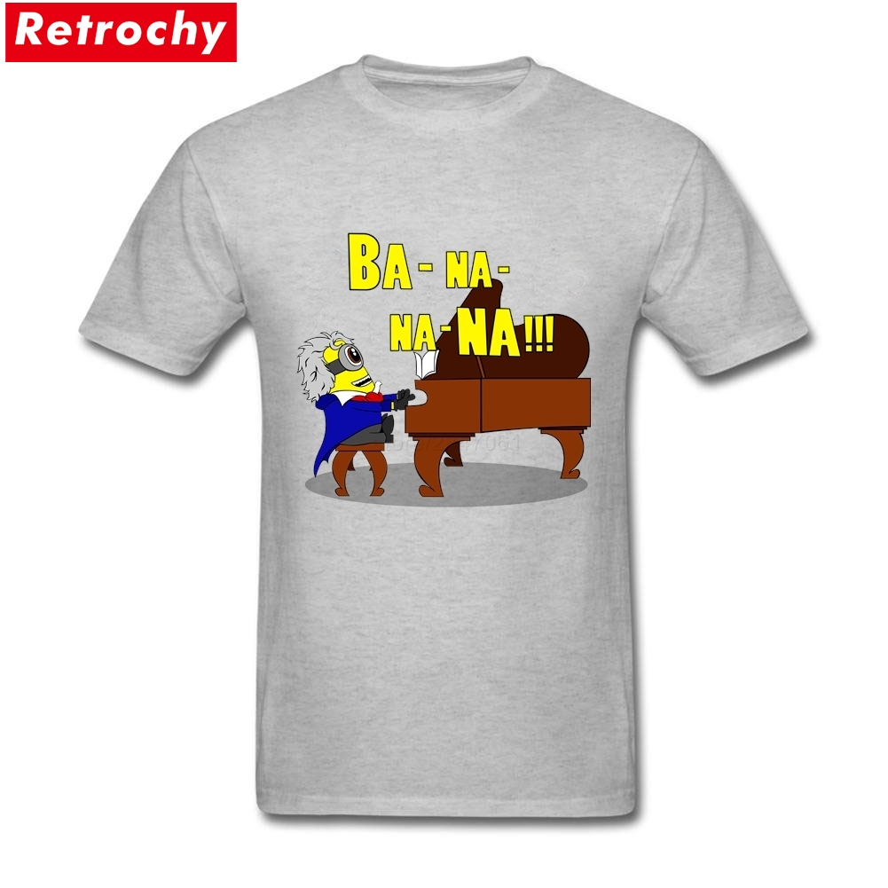 Classic Banana Pianist Piano T-shirt Men's Custom Short Sleeved O-neck Spandex Cotton T-shirt XXXL image