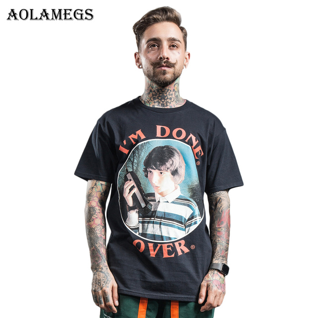 Aolamegs T Shirt Men Movie Boy Funny Print Men's Tee Shirts Short Sleeve O-neck T Shirt Loose Cotton High Street Tees Spring