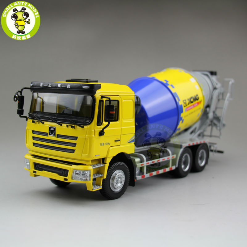 1/35 XCMG MAN Schwing Concrete Mixing Truck Construction Machinery Diecast Model Toy Hobby Yellow 1 35 xcmg benz construction mounted concre truck diecast metal construction vehicles toy