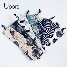UPORS 100PCS Straw bag Straw Pouch Chopsticks Spoon Tableware Metal Straw Drink Bag Reusable Drawstring Linen Bag Wholesale(China)