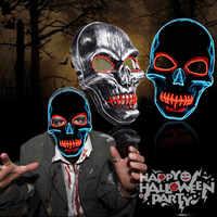 Masque Halloween masques néon LED effrayant crâne Masque squelette horreur Maske mascarade fête Mascara brillant carnaval Masker Cosplay
