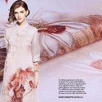 Dragonfly lotus flower printing organza satin cloth silk dress catwalk fabric printing silk satin positioning fabric specials