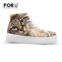 แมวมีสไตล์นกฮูกสุนัขใบหน้าสูงด้านบนรองเท้าแพลตฟอร์มสำหรับผู้หญิง3Dสัตว์พิมพ์ลูกไม้ขึ้นC Reppersรองเท้าสบายๆรอบนิ้วเท้าแบนรองเท้า