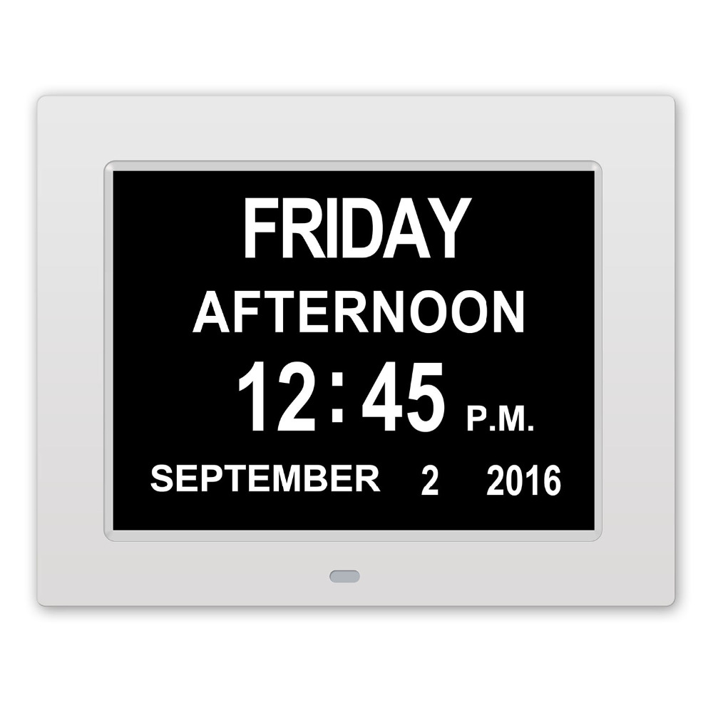 Digital Photo Frames Clock Smart Calendar Extra Large Non Abbreviated Day Month For the Elderly Dementia