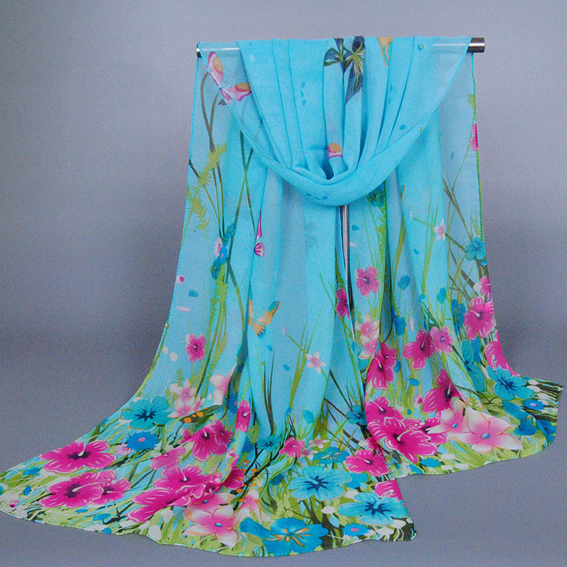 Hight quality woman scarves joker fields and gardens Butterfly printing scarf chiffon pashmina shawl 160x50cm Free shipping