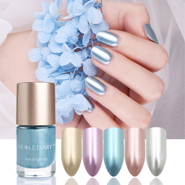 Nicole Diary 1 Bottle Metallic Nail Polish Gold Slive Rose Purple Blue 5 Colors 9ml Mirror