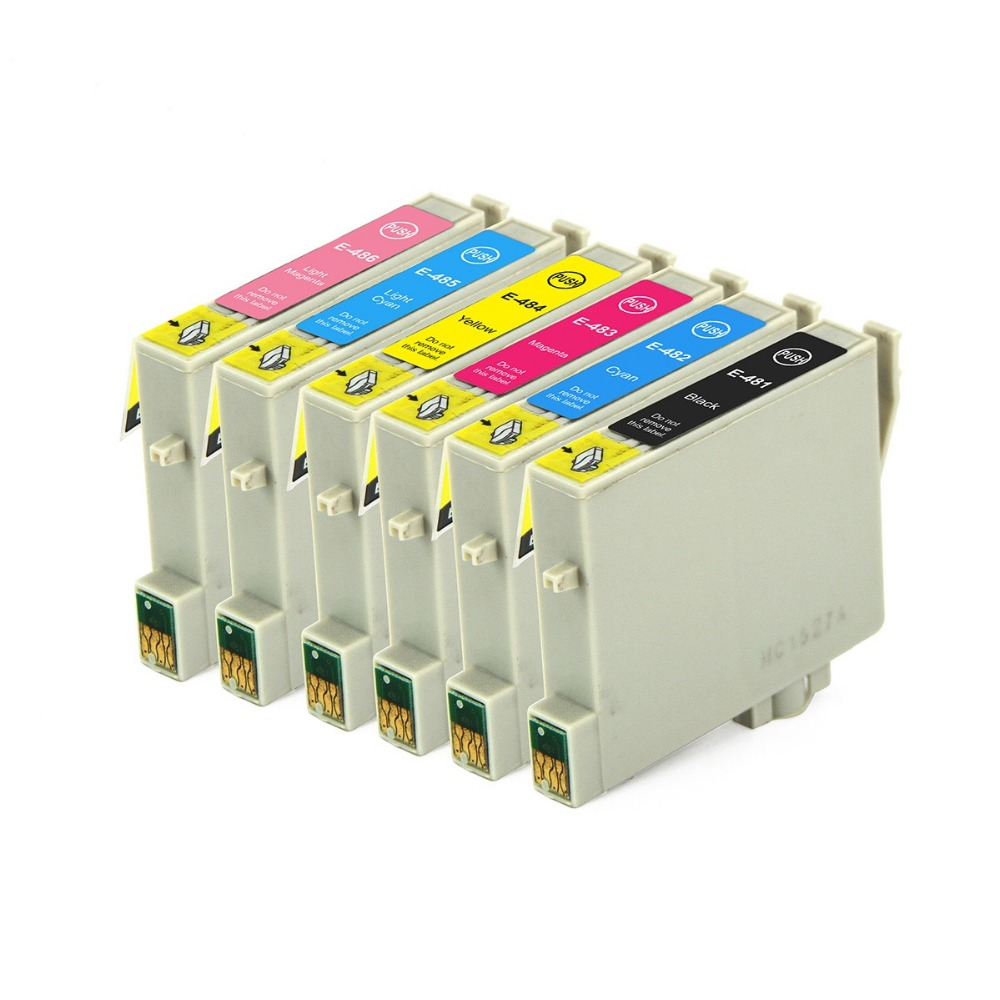 Full Ink 6 PCS Ink Cartridge T0481 T0482 T0483 T0484 T0485 T0486 Printer for Epson STYLUS PHOTO R200 R220 R300 R300M R320 R340 image