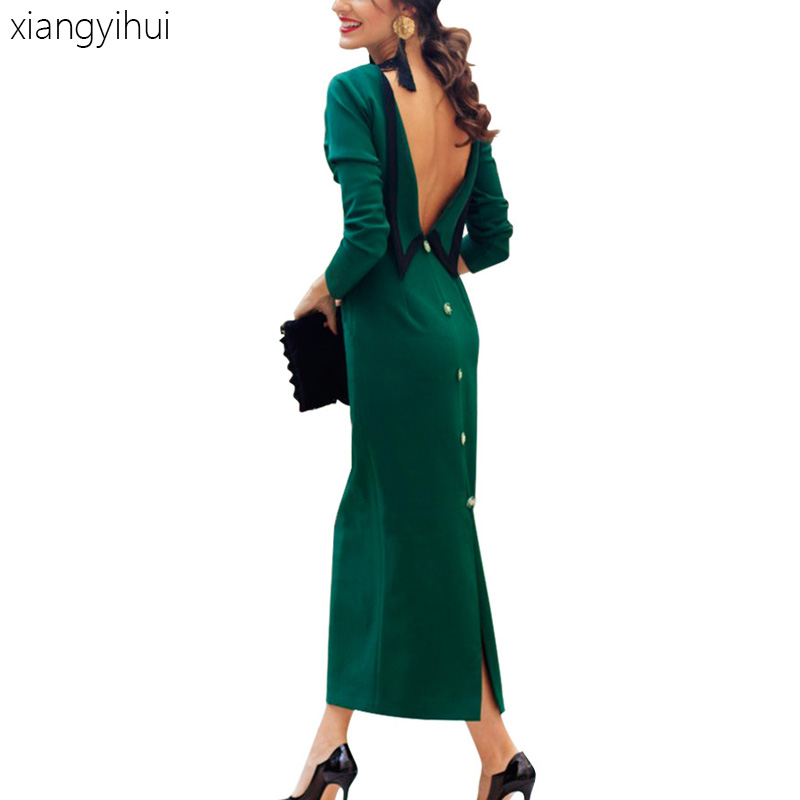 Sexy Vintage Backless Party Dress Women Bowknot Long Sleeve Buttons Party Dress Autumn Elegant Long Dresses Vestidos Pink Green