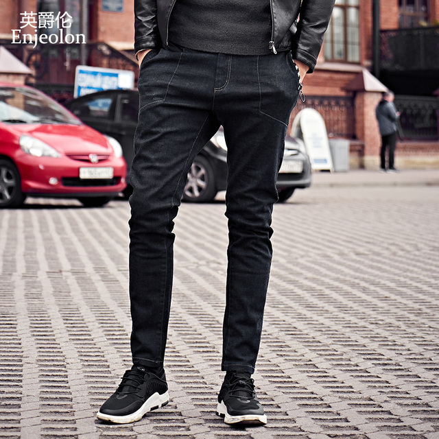 Enjeolon marca 2017 top quality piena lunga pantaloni jeans uomo, tessuto di cotone abbigliamento maschi Causale solid Pantaloni neri KZ6143