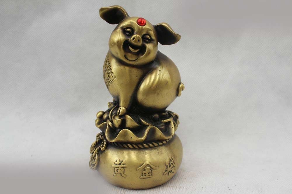 6 Китайский народный фэн шуй латунь реалистичные Деньги Рисование золотой мешок статуя свиньи