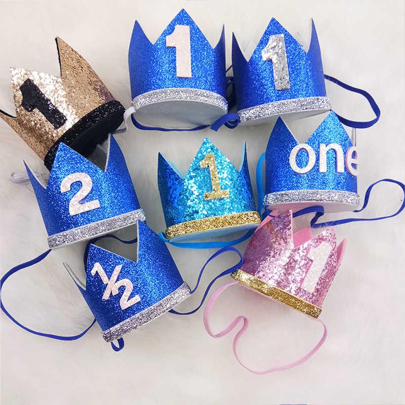 ... 1 unid muchacho azul plata corona fiesta de cumpleaños sombreros niños  un año princesa corona diadema ... e6f1bdca8c5