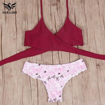 NAKIAEOI 2018 Sexy Cross Brazilian Bikinis Women Swimwear Swimsuit Push Up Bikini Set Halter Top Beach Bathing Suits Swim Wear 5