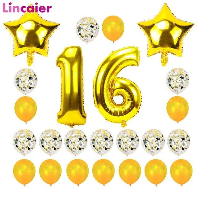 Lincaier 32 Inch 62 Cm Gelukkig 16 Verjaardag Ballonnen Cijfers