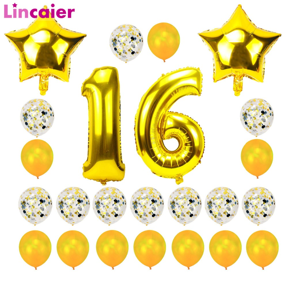 Lincaier 32inch 62cm Happy 16 Birthday Balloons Numbers Sweet 16th Years Party Decorations Man Girl Supplies