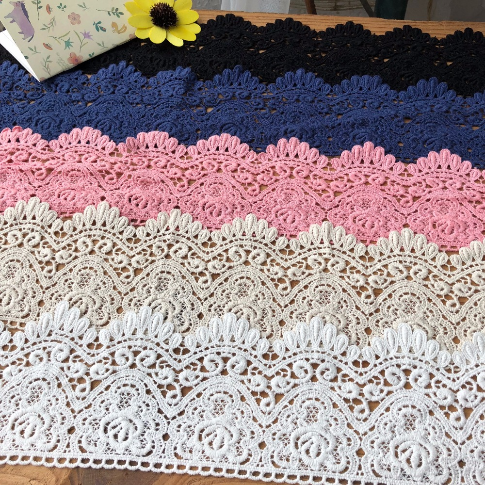 Cotton 9cm high quality thick water soluble lace trim embroidery DIY wedding dress lace fabric material