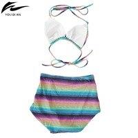 Ca Qi Women High Waist Bikini Set Colorful Summer Beach Lady Halter Push Up Bra Trend