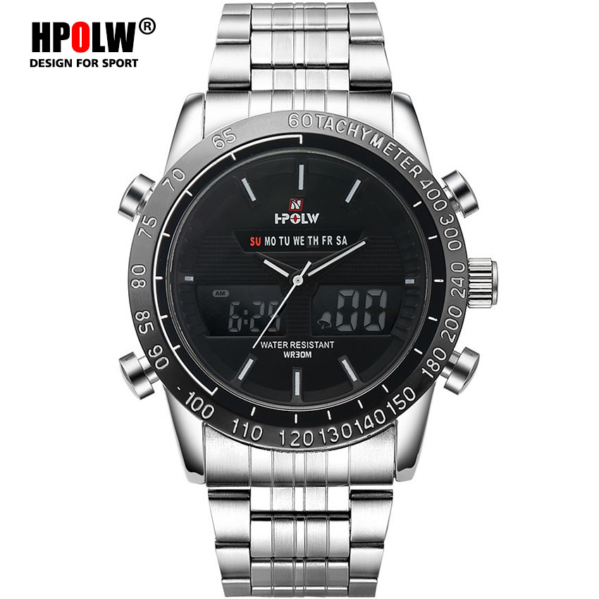 LED Quartz Digital Watches Luxury Military HPOLW Sport Watch Men Black Dual Time Date Alarm Steel Band Relogio Masculino|Digital Watches|Watches - title=