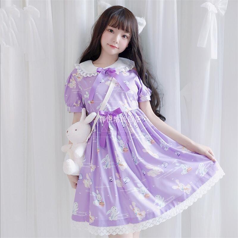 Douce soeur japonaise Lolita Kawaii lapin imprimé poupée col dentelle robe arc à manches courtes princesse femmes Dolly robe d'été