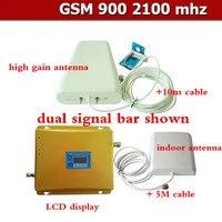 Полный комплект Высокое качество коаксиальный кабель Dual Band ЖК дисплей повторителя 3G WCDMA 2100 мГц GSM 900 мГц Сотовая связь усилитель сигнала + Тел