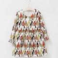 Vestido de la muchacha de Manga Larga 2016 Marca Princesa Vestido de Ropa de Las Muchachas Niños Vestidos para Niñas Trajes de Aves Loro Impresión de 1-12Y
