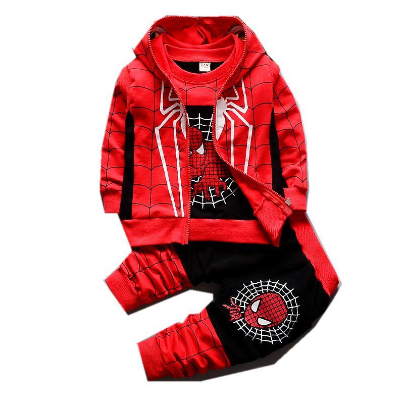 3Pcs Children Clothing Sets 2017 New Autumn Winter Toddler Kids Boys Clothes Hooded T-shirt Jacket Coat Pants <font><b>Spiderman</b></font> T2925