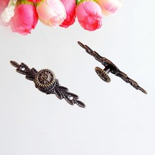 Free Shipping 5PCs Furniture Handle Leaves Carved Kitchen Cabinet Drawer Door Knobs Handle Bronze Tone 64x14mm F0952