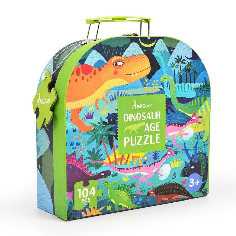 Mideer 104 pcs Enfants Dinosaure Puzzle Science Puzzle Dessin Animé Animaux Puzzle Jouet Enfants Jouet D'éducation Précoce Cadeau Boîte