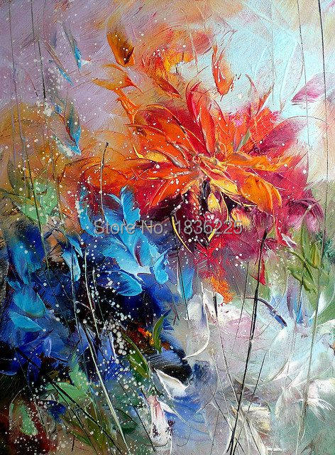 Simple Flower Canvas Painting High Quality Reproduction Hand Made Flowers Oil Modern Decoration Gifts