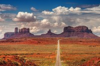 Monument Valley Rock Formations Desert Clouds American West Geography Landscape Poster Print Waterproof Fabric Wall Decor