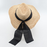 New stylish minimalist natural Rafi hand jazz hat beaded jazz straw hat outdoor beach straw hat summer hats for women