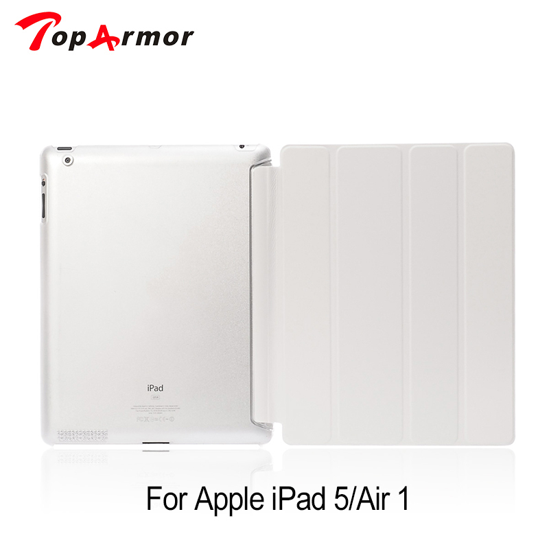 TopArmor Cover for Apple iPad 5 Fashion PU Leather Slim Magnetic Front Smart Cover Skin +Hard PC Back Case For ipad air 1 rygou smart cover for apple ipad air 2 ipad 6 pu leather magnetic front case hard back cover for ipad air 2 case tablet c