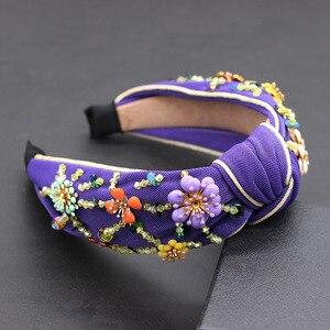 Image 3 - Bohemian fashion flowers wrapped personality dance headband Colorful crystal flower geometric metal versatile headband 865