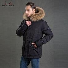 HERMZI 2019 Winter Jacket Men Parka Thicken Padded Coat Homme Raccoon Fur Long Plus Size 4XL Outdoor