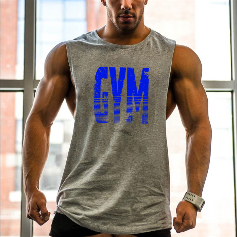Brand Clothing Cut Out Singlets Mens Tank Top GYM Letters Print Muscle Shirt Bodybuilding And Fitness Mens Side Open Vest