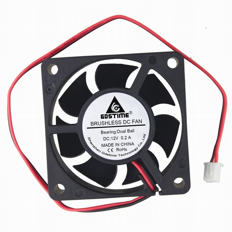 2 pcs/lot DC 12V 2 Pin 60mm Ball Bearing PC Computer Case Cooling Cooler Fan 60 x 60 x 20mm GDT6020B  computer cooling