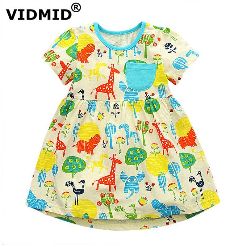 VIDMID Dresses For Children Girls Children short Sleeve Dress Kids colors animals Dresses For Toddler clothing