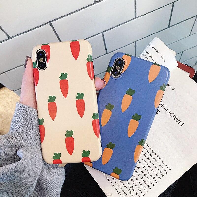 Casos bonitos de cenouras para iphone x 7/7 plus 6/6 plus 8/8 plus xr xs max 6s plus case macio tpu mate tampa traseira shell capa tapetes natalinos para banheiro