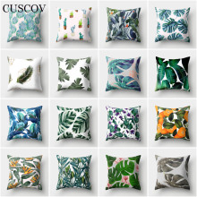 CUSCOV tropical rain forest plant polyester sofa cushion cover elegant floral pattern wedding decoration pillowcase chair pillow
